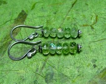 Trickle - Prehnite and Sterling Silver Earrings