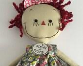 Annie, handmade cloth rag doll, Gray Floral Dress, Red Hair