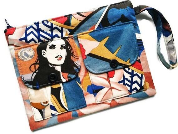 Womens Wallet Purse, Wristlet Wallet, Brown Wallet, Surfer Girl Wristlet, Phone Wristlet, Cute Wallet