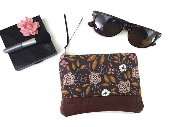 Grey and Pink Flower Leather Coin Purse, Small Floral Coin Purse, Fabric Zipper Pouch, 144 Collection