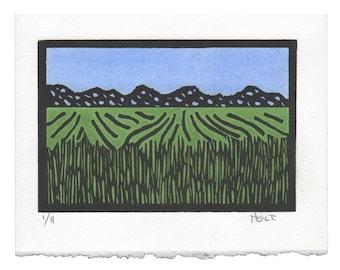 Hand colored linoleum block print, hand printed Westport, Connecticut landscape print