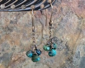 RESERVED- CHRYSOCOLLA cluster earring customization, sterling silver artisan jewelry