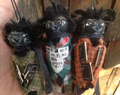 Three Indy Krampus Santas sidekick handmade ornaments