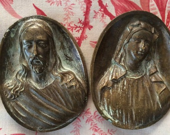 Beautiful Vintage Catholic Jesus and Mary Large Brass Findings for Art or Knobs