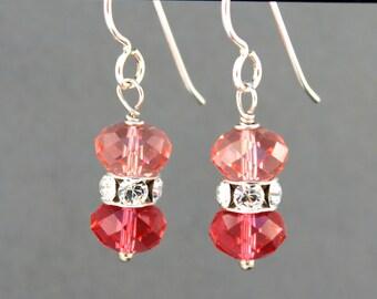 Sterling Silver Earrings, Dangle Earrings, Pink Crystal Earrings, Swarovski Earrings
