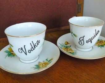 Vodka Tequila hand painted vintage porcelain teacups and saucers recycled humor boozy high tea party