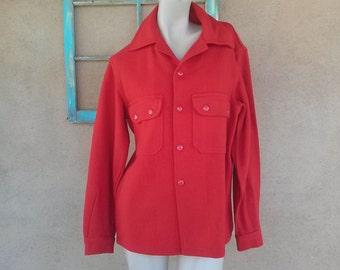 Vintage 1970s Wool Jacket Chippewa Red Shirt Mens 38 Womens B40