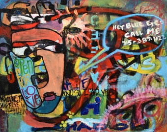 Original Art Graffiti Painting Collaboration Colorful Bright Bold Faces Words Text Phone Call Available Love Unframed
