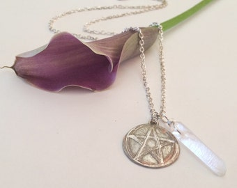 Etched Pentagram with Quartz Point
