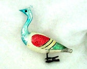 Antique Clip On Peacock Christmas Ornament Needs Tail - 1940's Glass Ornament