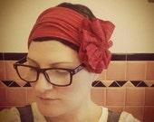 red & gold pin stripe flapper girl headband