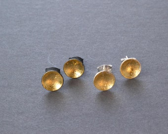 Silver and Gold Pool Studs- sterling silver and 23k gold