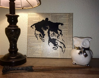 Harry Potter Silhouette Painting - Dementor and Stag Patronus
