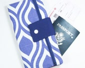 Travel Wallet Passport Cover Travel Organizer with Zipper Pouch - Purple Mod