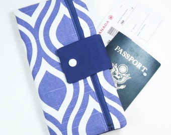 Travel Wallet Passport Cover Travel Organizer with Zipper Pouch - Purple Mod