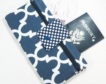 Travel Wallet / Travel Passport Holder / Passport Wallet / Passport Case / Passport Cover - Navy Fulton