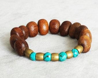Brass Turquoise and Natural Wood beaded bracelet for men, Anniversary gift for him, stacking bracelets, boho stackable bracelets