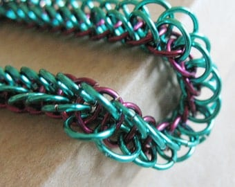 Turquoise and Wine Red Chainmaille Bracelet Half Persian Chain Link Jewelry for Women