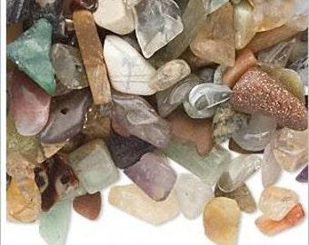 DESTASH Embellishment Mix Multi-Gemstone (natural / heated) Undrilled Chips 50-gram pkg,