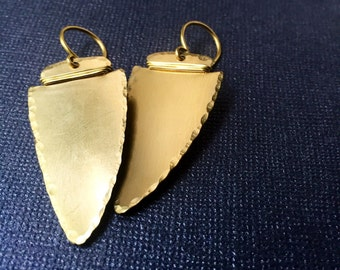 Gold Arrowhead Earrings (Brass)