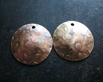 22mm Antiqued Brass Crater Hammered Discs - 1 pair