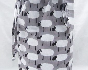SALE - Small Knitting Project Bag - Sheep on Gray