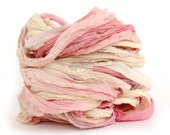 Recycled chiffon silk ribbon handdyed Unicorn Clouds, pale pastel pink lemon yellow lilac blue,  10metres, textile arts, bouquet wrap