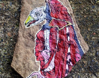 Dark Crystal SkekSkil art - original painting on slate crystal shard