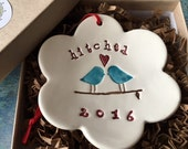 Our First Christmas Ornament Handmade Ceramic Ornament Wedding Gift Wedding Shower Gift 2016 Love Birds Hitched Ornament Keepsake