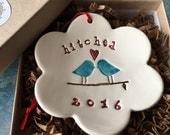 Wedding Gift Wedding Shower Gift 2016 Love Birds Hitched Ornament Keepsake