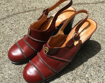 Size 7N Etienne Aigner Italian Leather Shoes Heels Wedges