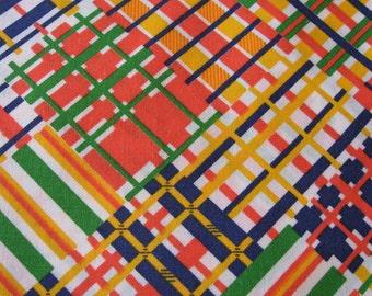 "Vintage 1960's Fabric Mod Diagonal Plaid Patchwork Bright Orange Green Yellow Blue 41"" X 1+ Yards Cotton"