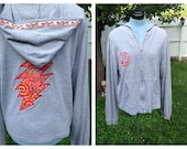 Grateful Dead 13pt Lighting Bolt Gray Hoodie with Mushroom Trim Upcycled Zip Up Hoodie OOAK Size L Patchwork  Hippie clothes