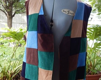 All Corduroy Patchwork Lined Vest inside pockets, hippie clothes, patchwork vest, mens vest, womens vest, OOAK Vest Zipper Pocket Vest