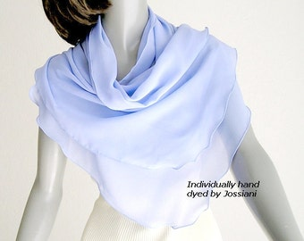 Periwinkle Scarf Wrap Hydrangea Blue Coverup, Petite Shoulder Scarf, Small X XS, Sheer Pure Silk Chiffon, Something Blue, Unique Hand Dyed