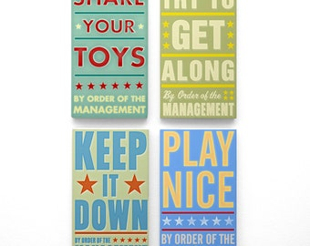 "Kids Room Decor- Kids Room Art for Playroom Decor Set- 4 By Order of the Management Art Blocks- 4"" x 7"" Playroom Art- Kid Art- Kid Wall Art"