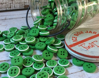 "Chunky Kelly Green Buttons, Bright Green with White Striped Set of 12 Buttons, New Old Stock, 3/4"" in Diameter, Vintage Seventies Buttons"