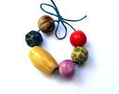 Textured Colorful Porcelain Ceramic Clay Bead Bundle Mix Handmade Destash