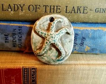 Handmade Ceramic Raku Fired Rustic Starfish Pendant Turquoise Blue Green  Rusty Crackle Gray