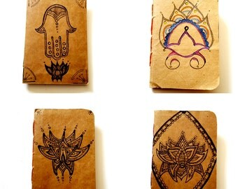 Recycled Upcyled Paper Grocery Bag Handbound Notebooks with Hand Drawn Art Lotus Flowers Hand of Fate