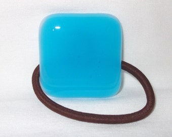 Glass Ponytail Holder, Bright Blue Fused Glass, Handmade Hair Accessories, Women's Accessories, Flat Square Blue Glass Hair Tie
