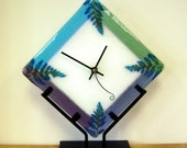 Glass Fern Clock in Iron Stand