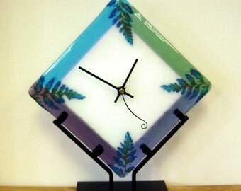 Glass Fern Clock in Iron Stand
