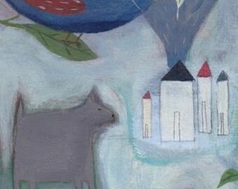 Folk Art Painting, Outsider Art, Dog Folk Art, Naive Illustration, Bird Painting, Original Art,  Animal Folk Art, Whimsical Decor, Bird Art