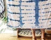 Indigo Hand Dyed Rayon Wrap in Indigo Grid, Shibori, Anna Joyce, Portland, Oregon
