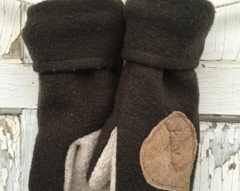 40% FLASH SALE- Brown Wool Mittens-Leaf Simplicity-Upcycled Fashion