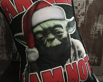 30%OFF SUPER SALE- Yoda Throw Pillow-Comic-Star Wars Christmas-Upcycled Eco Friendly-Quilted
