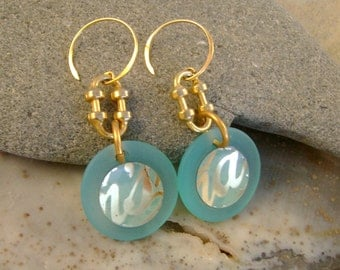 Sea Change - Vintage Turquoise Tins Sea Glass Recycled Repurposed Jewelry Earrings - Ten Year Anniversary Gift