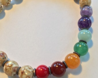 Bracelet- Colorful Chakra Bracelet with Agate
