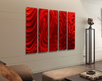 Red Multi Panel Wall Art, Huge Indoor Outdoor Metal Wall Art Painting, Contemporary Wall Sculpture - Red Hypnotic Sands Epic by Jon allen